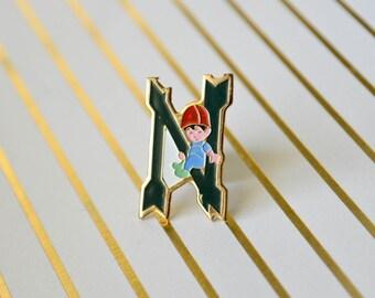 Vintage Enamel Pin - Letter N - Enamel Pin - Lapel Pin - Letter Pin - Tie Pin - Pin Badge - Soft Enamel Pin - Monogram Pin