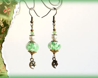 """Earrings green flower beads and charms on bronze """"Luna"""" Moonlight"""