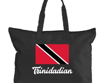 Trinidad Tote Bag | Caribbean Canvas Tote for West Indian Women | School, University, International, Caribbean Island Hand Bags for Books