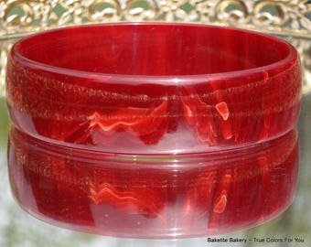 Red Bakelite Bracelet Vintage Marbled Black Cherry Custard Bangle Statement Modernist Ruby Cream Wide Rare 50s 60s Mid Century Wine Opaque