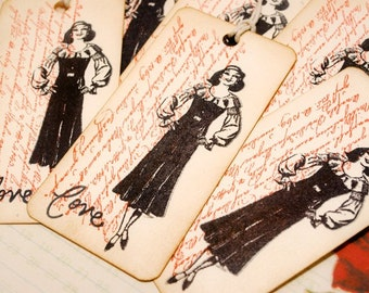 Vintage Lady Love with Script Tags Set of 6