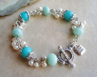 Multi Gemstone Cluster Bracelet.Peruvian Opal/Jade.Freshwater Pearls.Toggle plated sterling silver.Beadwork.Bridal.Mother's.Pastel.Handmade.