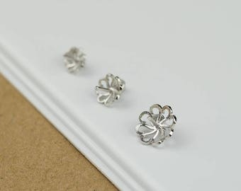 sterling silver 925 hollow out flower pendant pinch bail pendant holder