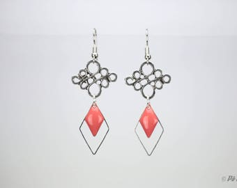 Coral and silver diamond #0973 earrings