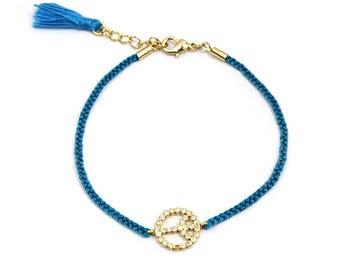 Bracelets - Lake Blue - Brass, Zircon, Thread - Elegant - Anniversary