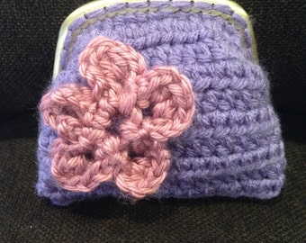Handmade Crochet Coin Purse with Pink Flower