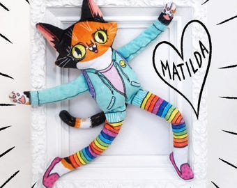 Matilda the Wildcat goes to school - Soft minky cat plush doll with vibrant colours