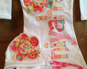 Personalized infant gown and hat, baby girl layette, applique baby gown, flower applique hat