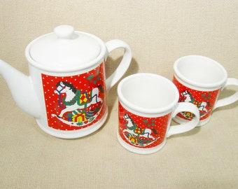 Vintage Christmas Rocking Horse Tea Set Teapot Cup