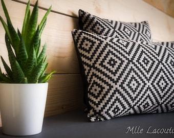 Cushion cover 30x50cm jacquard black and grey Argyle fabric rectangle