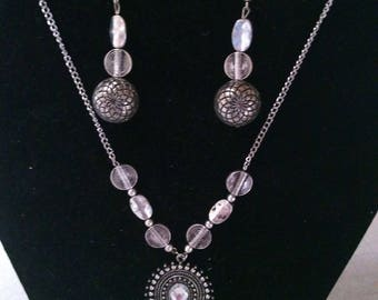 Brushed Silver Beaded Necklace and Earrings Set