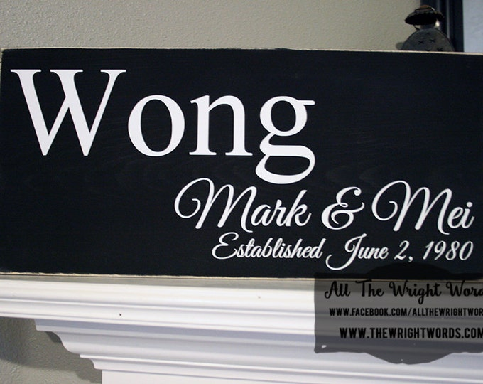 """24x12"""" Family Established Wood Sign - Great For Wedding & Housewarming Presents!  - Love  - Family - Marriage - Home - Home Decor"""