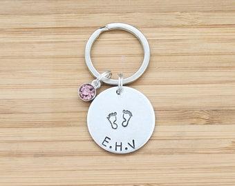 hand stamped keychain   baby initials + birthstone
