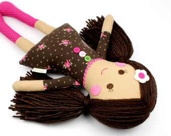 doll with yarn hair | handmade rag doll | camille cloth doll | first doll | keepsake rag doll | girl doll