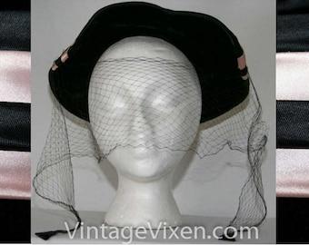 50s New Look Hat - Paris Chic 1950s Black Velvet & Pink Satin Veiled Hat - Suzy Et Paulette - Glamorous - Chapeau - Chic - Spring - 23444