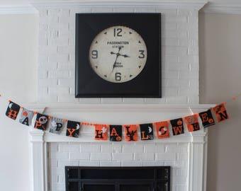 """Felt Banner, """"Happy Halloween"""""""