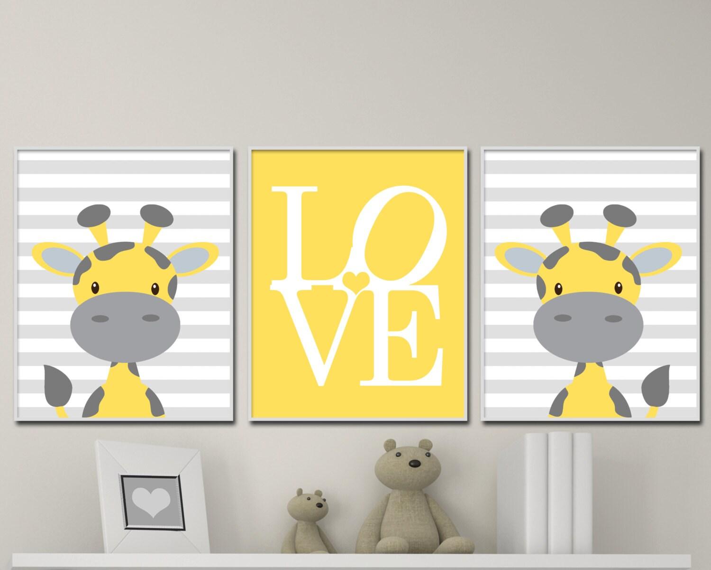 Yellow and Gray Nursery Art Prints. Baby Boy Nursery Wall Art