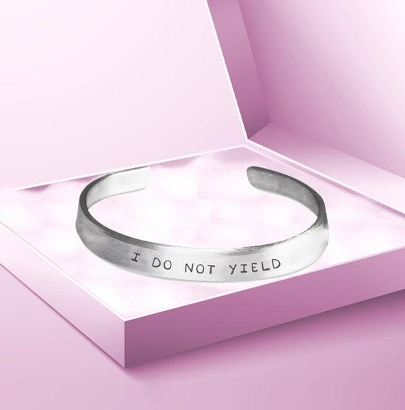 Women's Rights  I do not yield hand stamped bracelet  feminist gift for women