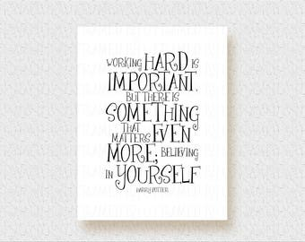 Harry Potter Wall Art Nursery Dumbledore Quote Working Hard Is Important Believing In Yourself School Counselor Wall Decor J.K. Rowling 1022