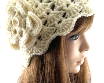Fisherman Beanie Hat with Flower, BE135-01