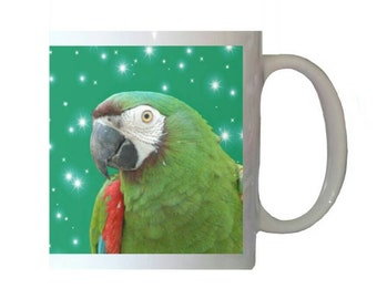 Severe Chestnut-fronted Macaw Parrot Stars Green Background White 11oz Ceramic Coffee Mug