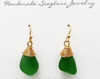 Genuine Wire Wrapped Seaglass Earrings Gold Green/Brown/Seafoam/Lime Green Sea Glass by Mountain Beach