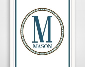 Personalized Children's Wall Art / Nursery Custom Monogram and Name by Finny and Zook