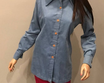 70's button down corduroy,pointy collar,tunic,shirt,top,blouse,light jacket -Med