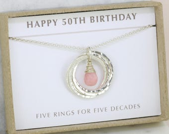 50th birthday gift, October birthstone necklace 50th, pink opal necklace for 50th birthday, gift for wife, mom - Lilia