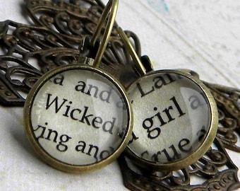 Wicked Earrings, WICKED Girl, Wicked Witch, Oz, WICKED, Word Earrings, Book Page Earrings, Book Jewelry, Book Earrings