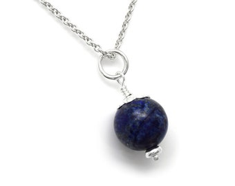 Lapis Lazuli Gemstone Bead and Sterling Silver Charm Necklace, 925 Wrapped Blue Pendant Jewelry 10mm Round Ball
