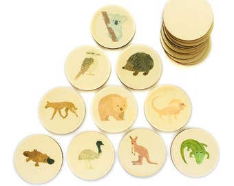 aussie animals - memory match | my little set | wooden game | story stones | memory match |
