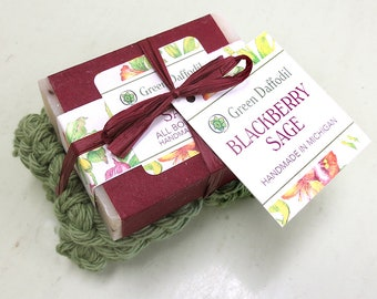 Blackberry Sage Soap and Washcloth Kit