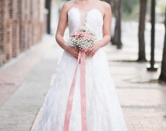White Feather Strapless A-line Couture Wedding Dress