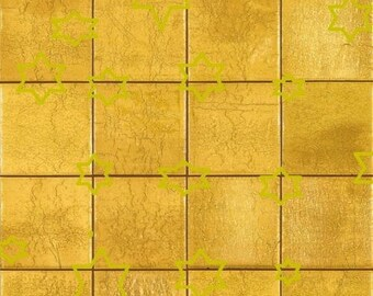 4 SHEETS  mosaic tile GOLD  floor 1/12 scale  paper vinyl glossy self adhesive  for dollhouse  free shipping