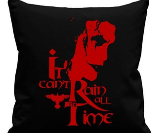 The Crow - Can't Rain All the Time Black canvas 8oz Cushion Cover 45x45cm square, concealed zip