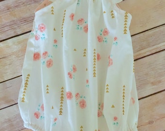 Baby Playsuit Romper, Baby Summer Playsuit, Floral Romper, babyshower gift