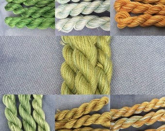 Hand dyed cotton embroidery thread hand painted variagated ooak floss for cross stitch embroidery and needlepoint 6 stranded sampler floss