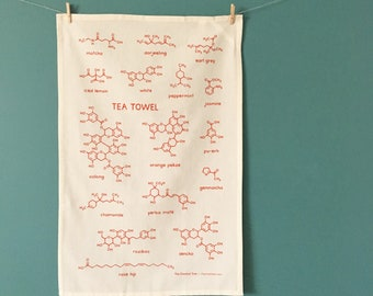 Tea Towel Chemistry Tea Molecules Screenprinted Dish Towel Kitchen - Tea Lover Foodie Gift - Nutrition Science Restaurant House Decor