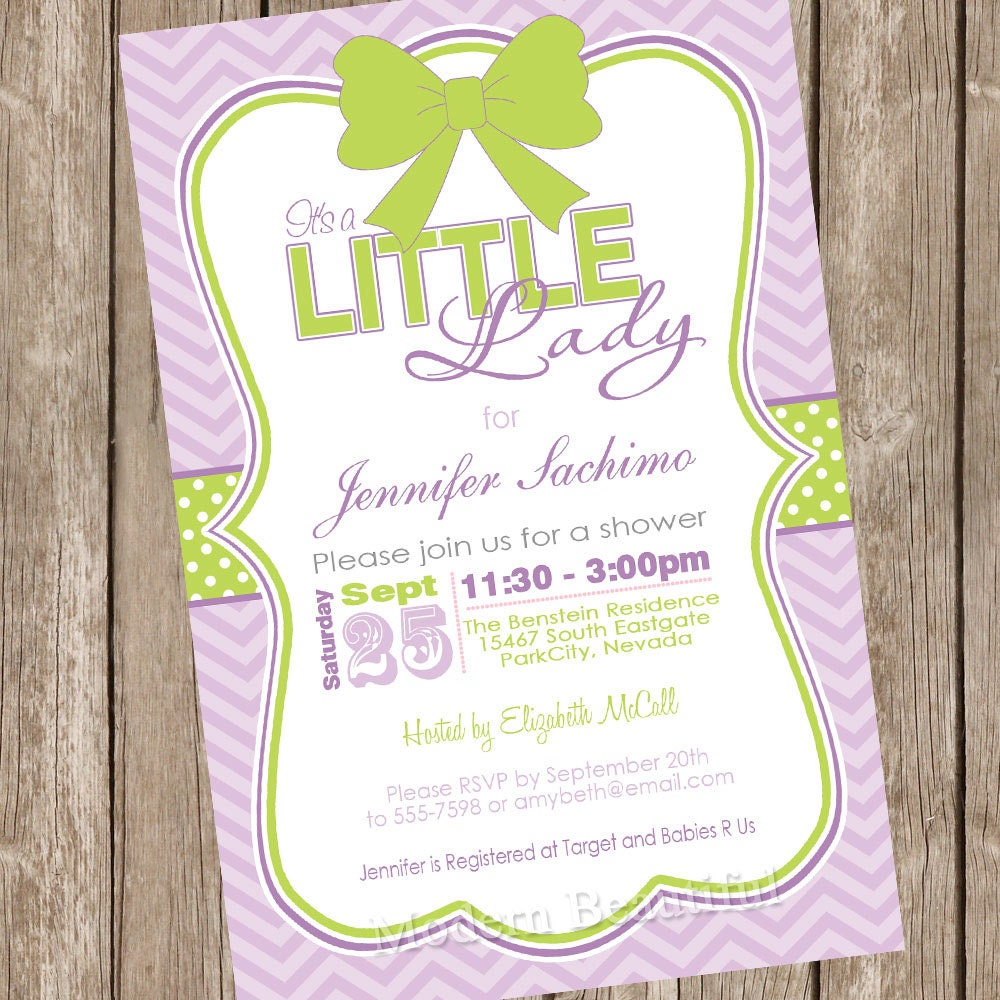 It\'s a little lady girl baby shower invitation green