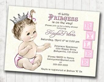 Vintage baby shower invitation for girl princess crown princess baby shower invitation for girl vintage princess pink and silver crown pink diy printable filmwisefo