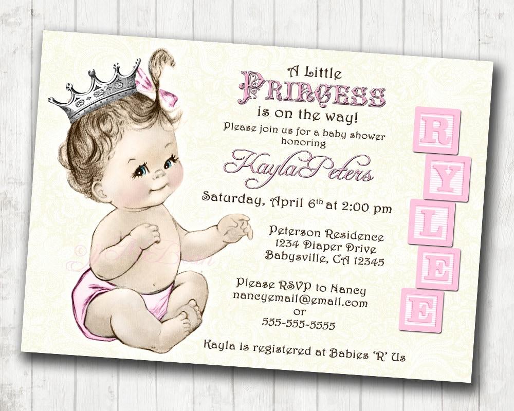 Princess Baby Shower Invitation For Girl Vintage Princess