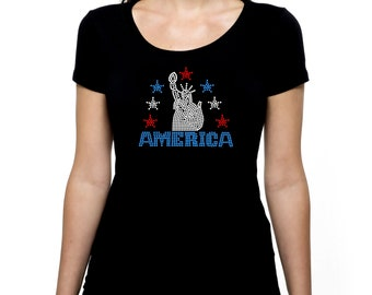 Statue of Liberty RHINESTONE t-shirt tank top S M L XL 2XL USA America United States Independence Day Fourth of July 4th Patriotic Stars