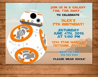 BB8 Invitation Illustration -- Star Wars Invite -- BB8 Party -- Star Wars Birthday -- Star Wars Party Favors - Force Awakens