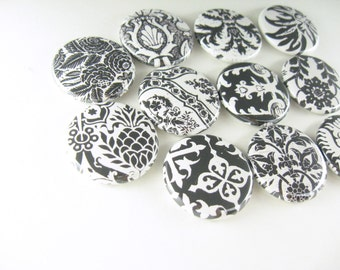 11 Cute Fridge Magnets, Pin Back Buttons, Wine Charms, Black and Cream, Kitchen Decor, Gift for Her, Keychain, Geometric Set, 1264