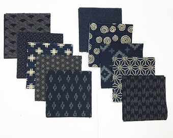 Charm Pack - 40 Japanese Traditional Indigo - 4 inch Charm Squares - 4 Each - 10 Designs