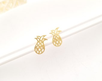 Pineapple Stud Earrings, tiny, petite, gold, brass, STERLING SILVER POST, dainty,handmade, tropical