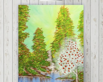 Magic Tree- Original Painting on Canvas Ready to Hang, Forest Painting, Green Trees, Home Decor, Wedding Gift, Anniversary Gift, Yoga