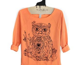 Small- Womens Sweatshirt Hand Dyed Orange Raw-Edge 3/4-Sleeve Raglan with Owl Screen Print- Sale