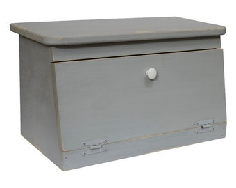 Distressed Painted Wood Bread Box with White Knob